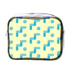 Squiggly Dot Pattern Blue Yellow Circle Mini Toiletries Bags by AnjaniArt