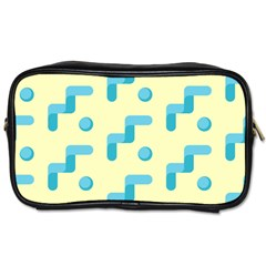 Squiggly Dot Pattern Blue Yellow Circle Toiletries Bags by AnjaniArt