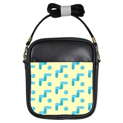 Squiggly Dot Pattern Blue Yellow Circle Girls Sling Bags by AnjaniArt