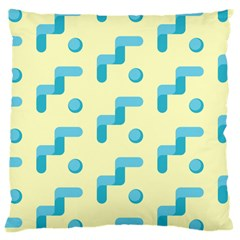 Squiggly Dot Pattern Blue Yellow Circle Large Cushion Case (two Sides) by AnjaniArt