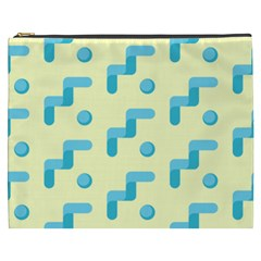 Squiggly Dot Pattern Blue Yellow Circle Cosmetic Bag (xxxl)  by AnjaniArt