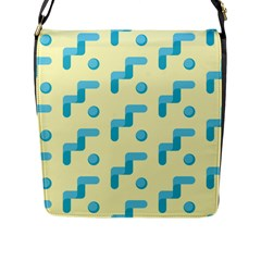 Squiggly Dot Pattern Blue Yellow Circle Flap Messenger Bag (l)  by AnjaniArt