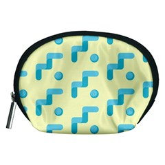 Squiggly Dot Pattern Blue Yellow Circle Accessory Pouches (medium)  by AnjaniArt