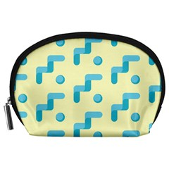 Squiggly Dot Pattern Blue Yellow Circle Accessory Pouches (large)  by AnjaniArt