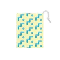 Squiggly Dot Pattern Blue Yellow Circle Drawstring Pouches (small)  by AnjaniArt