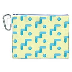Squiggly Dot Pattern Blue Yellow Circle Canvas Cosmetic Bag (xxl) by AnjaniArt