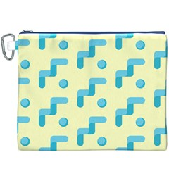 Squiggly Dot Pattern Blue Yellow Circle Canvas Cosmetic Bag (xxxl) by AnjaniArt