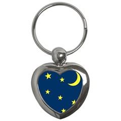 Star Moon Blue Sky Key Chains (heart)