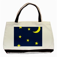 Star Moon Blue Sky Basic Tote Bag (two Sides) by AnjaniArt