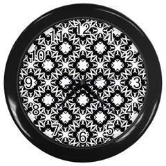 Star Flower Wall Clocks (black) by AnjaniArt