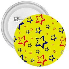 Star Yellow Red Blue 3  Buttons by AnjaniArt