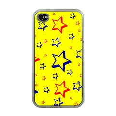 Star Yellow Red Blue Apple Iphone 4 Case (clear) by AnjaniArt