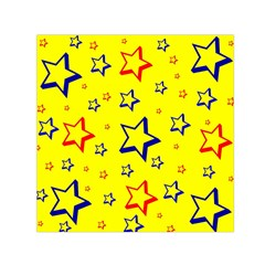 Star Yellow Red Blue Small Satin Scarf (square) by AnjaniArt