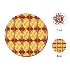 Star Brown Yellow Light Playing Cards (round)  by AnjaniArt