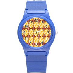 Star Brown Yellow Light Round Plastic Sport Watch (s) by AnjaniArt