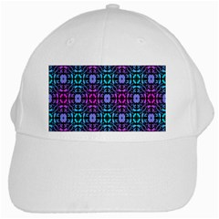 Star Flower Background Pattern Colour White Cap by AnjaniArt