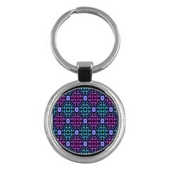 Star Flower Background Pattern Colour Key Chains (round)  by AnjaniArt