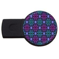 Star Flower Background Pattern Colour Usb Flash Drive Round (2 Gb) by AnjaniArt