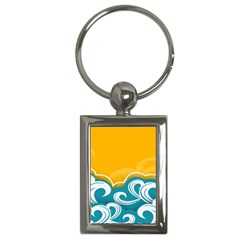 Summer Sea Water Wave Tree Yellow Blue Key Chains (rectangle)  by AnjaniArt