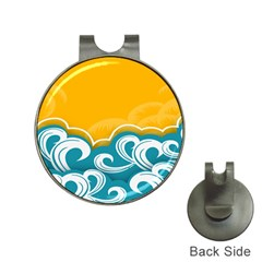 Summer Sea Water Wave Tree Yellow Blue Hat Clips With Golf Markers by AnjaniArt