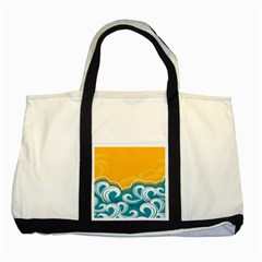 Summer Sea Water Wave Tree Yellow Blue Two Tone Tote Bag by AnjaniArt