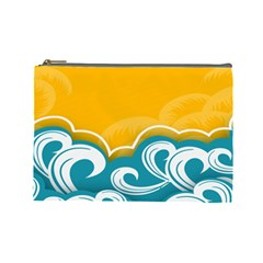 Summer Sea Water Wave Tree Yellow Blue Cosmetic Bag (large)  by AnjaniArt