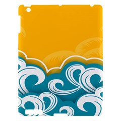 Summer Sea Water Wave Tree Yellow Blue Apple Ipad 3/4 Hardshell Case by AnjaniArt