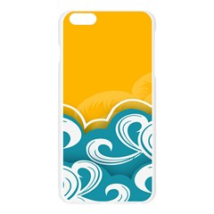 Summer Sea Water Wave Tree Yellow Blue Apple Seamless iPhone 6 Plus/6S Plus Case (Transparent) by AnjaniArt