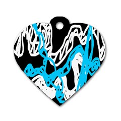 Tangled Rope Blue White Dog Tag Heart (one Side) by AnjaniArt