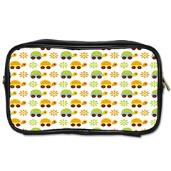 Turtle Green Yellow Flower Animals Toiletries Bags by AnjaniArt