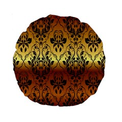 Vintage Gold Gradient Golden Resolution Standard 15  Premium Round Cushions by AnjaniArt