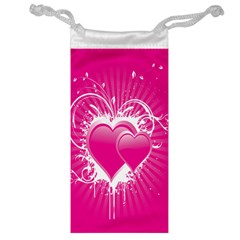 Valentine Floral Heart Pink Jewelry Bag by AnjaniArt