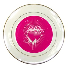 Valentine Floral Heart Pink Porcelain Plates by AnjaniArt