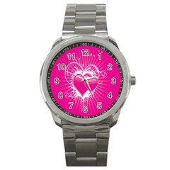 Valentine Floral Heart Pink Sport Metal Watch by AnjaniArt