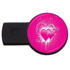 Valentine Floral Heart Pink Usb Flash Drive Round (4 Gb) by AnjaniArt