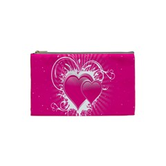 Valentine Floral Heart Pink Cosmetic Bag (small)  by AnjaniArt