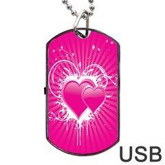Valentine Floral Heart Pink Dog Tag Usb Flash (two Sides) by AnjaniArt