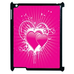 Valentine Floral Heart Pink Apple iPad 2 Case (Black) by AnjaniArt