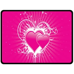 Valentine Floral Heart Pink Double Sided Fleece Blanket (large)  by AnjaniArt