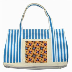 Wallpaper Overlaid Brown Line Purple Blue Box Striped Blue Tote Bag by AnjaniArt