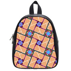 Wallpaper Overlaid Brown Line Purple Blue Box School Bags (small)  by AnjaniArt