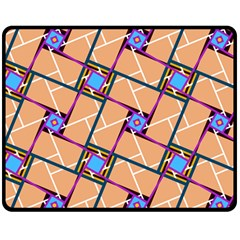 Wallpaper Overlaid Brown Line Purple Blue Box Double Sided Fleece Blanket (medium)  by AnjaniArt