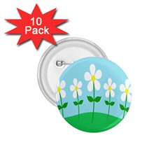 Flower Floral Blue Sky Green Leaf 1 75  Buttons (10 Pack) by AnjaniArt
