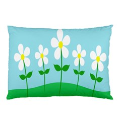 Flower Floral Blue Sky Green Leaf Pillow Case by AnjaniArt