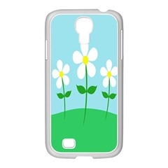 Flower Floral Blue Sky Green Leaf Samsung Galaxy S4 I9500/ I9505 Case (white) by AnjaniArt