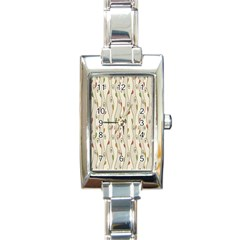 Flower Floral Leaf Rectangle Italian Charm Watch by AnjaniArt