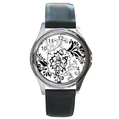 Free Floral Decorative Round Metal Watch by AnjaniArt
