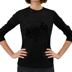 Free Floral Decorative Women s Long Sleeve Dark T Shirts by AnjaniArt