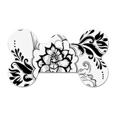 Free Floral Decorative Dog Tag Bone (two Sides) by AnjaniArt