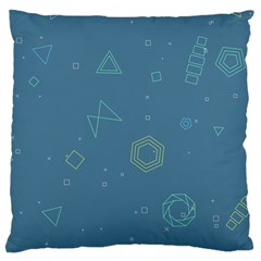 Geometric Debris In Space Blue Large Cushion Case (two Sides) by AnjaniArt
